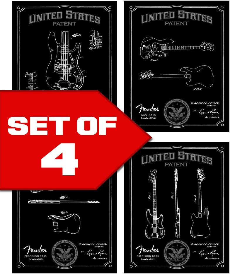 Wallables Black Bass Guitar Patents Decor Set of Four 8x10 Vintage Fender Bass Guitar Themed Decorative Prints, Great for Bachelor pad, Office, Living Room.