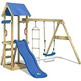 WICKEY Parco gioco TinyCabin Casetta gioco da esterno in legno Torre da gioco con altalena e scivolo, sabbiera e scala di corda