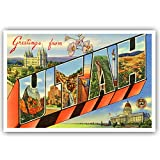 GREETINGS FROM UTAH vintage reprint postcard set of 20 identical postcards. Large letter US state name post card pack (ca. 1930's-1940's). Made in USA.