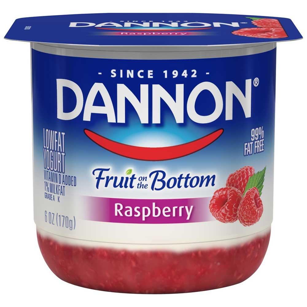 Dannon Fruit on the Bottom Raspberry Yogurt, 6 Ounce - 12 per case.