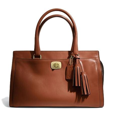 coach legacy leather chelsea carryall cognac brown satchel tote rh amazon co uk