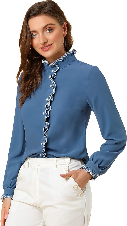 Allegra K Blusa Top De Manga Larga Oficina De Gasa De Trabajo Camisa con Botones Collar con Soporte De Volantes para Mujer