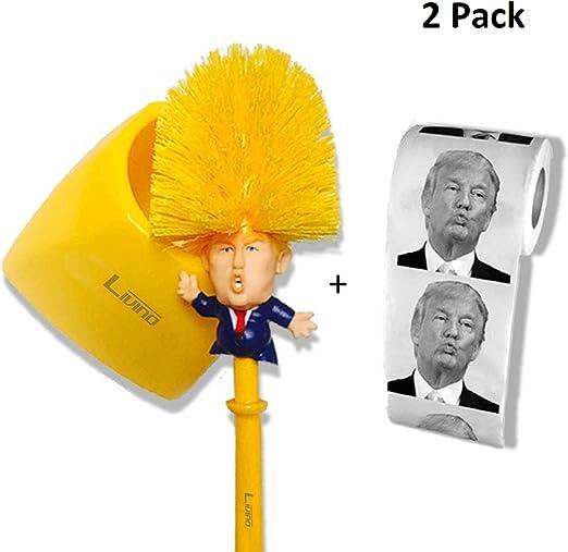 Papel higiénico Donald Trump con escobilla de WC (soporte incluido ...