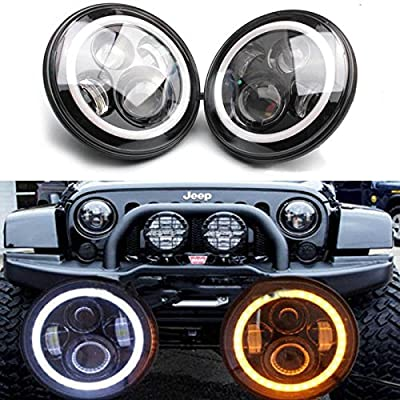 2PCS 7 Inch 7500lms Led Headlights with White DRL and Amber Turn Signal High Low Beam Conversion Kit DOT Approved + Decoder Canbus + Harness Wires For Freightliner Coronado E337 2001-2016: Automotive