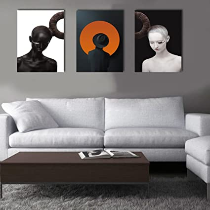 3 Panel Painting Yin And Yang Silhouette Wall Art Creative Orient Concept  Black And White Canvas