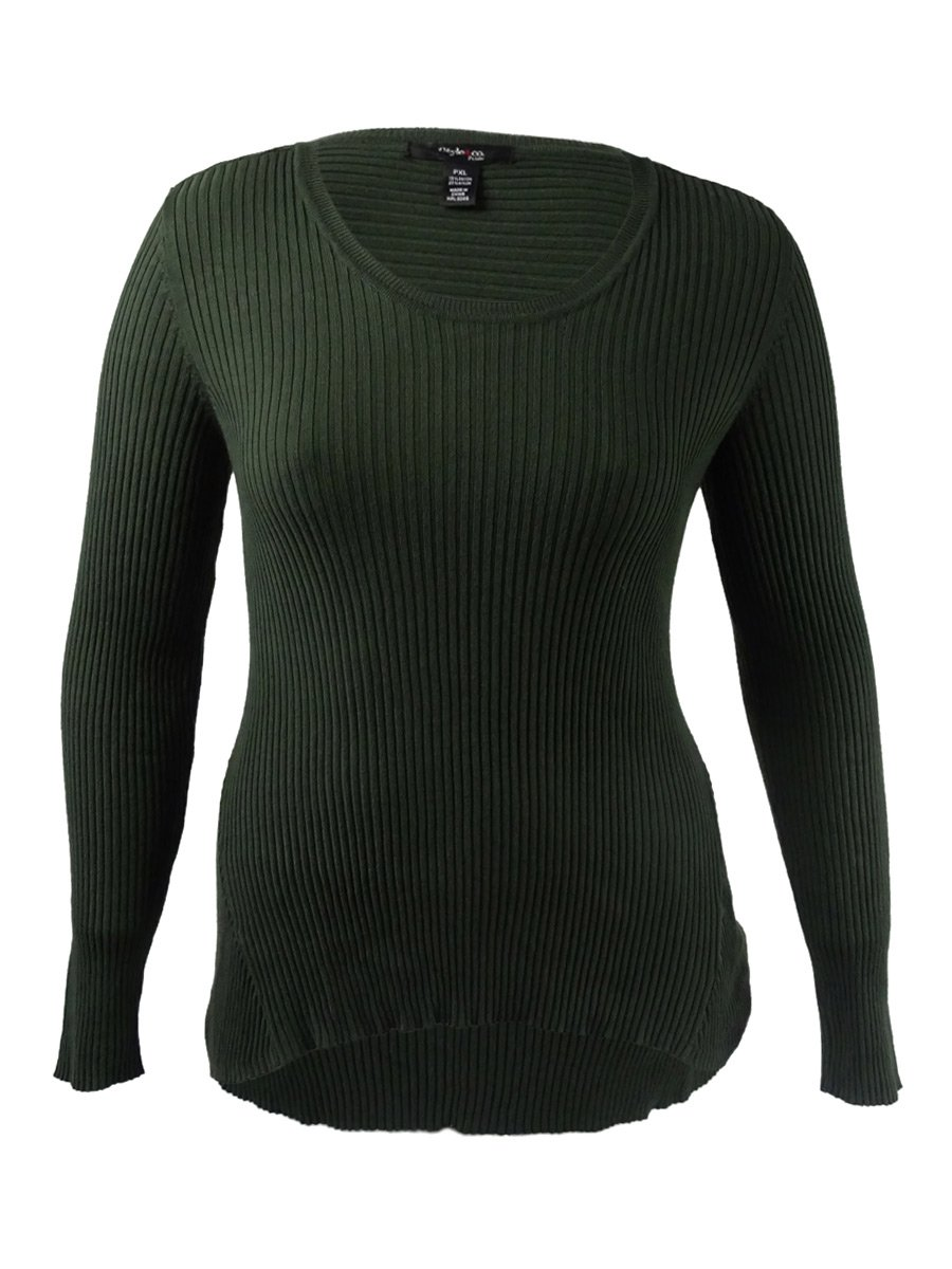 Style & Co. Womens Petites V-Neck Long Sleeve Pullover Sweater Green PXL