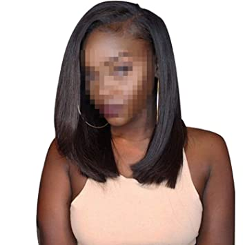 Brazilian Straight Short Lace Front Human Hair Wigs For Black Women Pre Plucked Baby Hair,