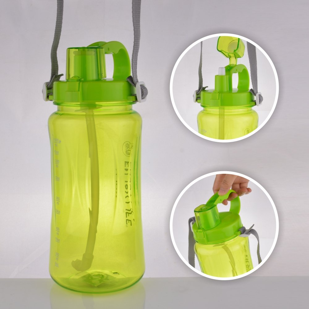 Water Bottle 1.5L / 1500ml / 51.25oz Outdoor Cup Large Capacity Plastic Queen Wide Mouth Leak Proof for Sports Camping Hiking Gym Picnic (Green, 1500ml)