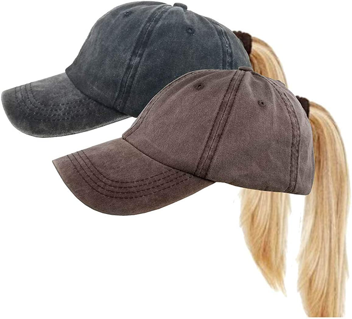 Washed Ponytail Hats Pony...