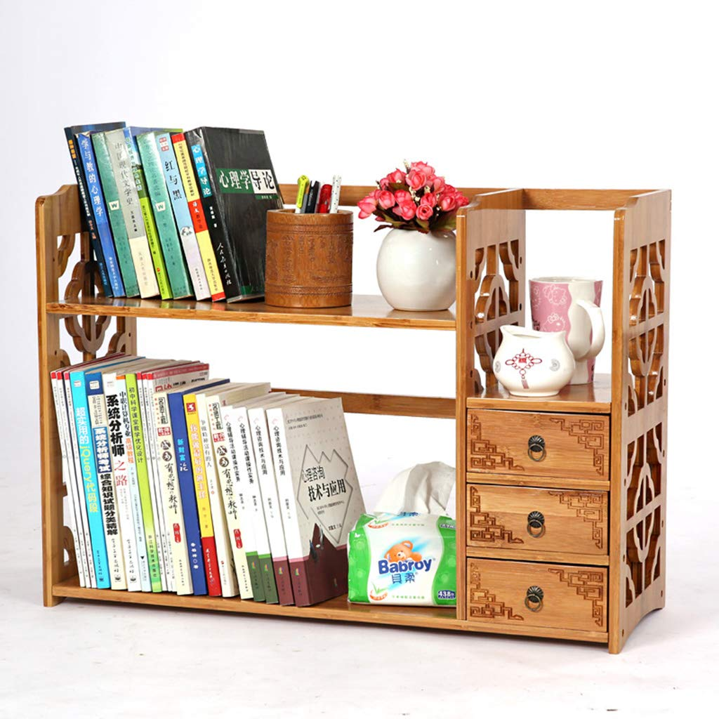 B 50cm Desktop Bookshelf, Natural Bamboo Tabletop Storage Rack Bookshelves Bookcase Stand Organizer with 3 Drawers, for Office Home, 2 colors