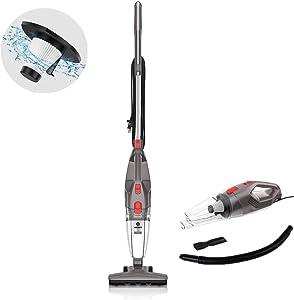 MOOSOO Vacuum Cleaner, 15KPa 4-in-1 Upright Vacuum Stick Vacuum Cleaner with HEPA Filters for Hard Floor Lightweight Home pet Hair LT450