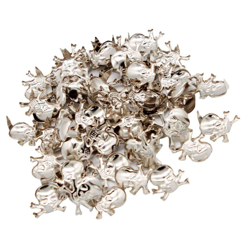 Prettyia 150Pcs Punk Style Crossbone Skull Rivets Studs for Leather Handbag Hat Clothing Decor Craft