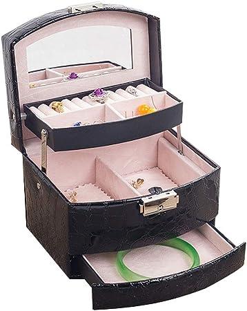 Cajas para Joyas Organizador de joyas para niñas Estuche de viaje Caja de almacenamiento de exhibición de joyería con cerradura de cuero de dos capas con cierre Organizador de Joyas y Almacenamiento: