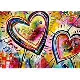 2PC Oucan DIY 5D Diamond Painting Kit,Heart Full Drill Paint Cross-stitch Diamond Painting Embroidery Diamond Painting Photo for Adults Home Decor(40 * 30cm)