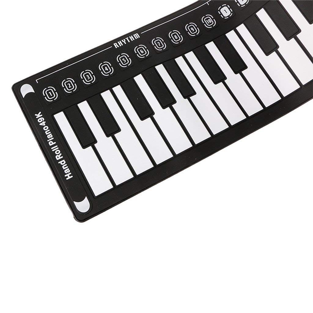 New Roll Up Piano Portable Children's Piano Electronic Digital Piano Keyboard 49-Key Silicone Rubber Recording Feature, Black by Anyer Piano (Image #6)