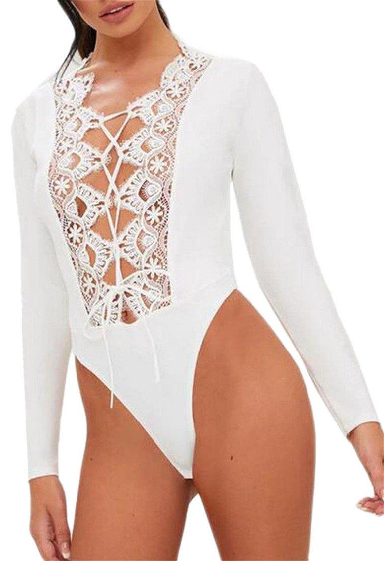 FLCH+YIGE Women Lace up Front Long Sleeve V Neck Bodysuit Jumpsuit Leotard