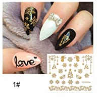 Niome 7 Style 1 Sheet Nail Sticker Gold Metallic Temporary Waterproof Glitter DIY Stamping Decals Lace Flower Decoration Party YZW6004