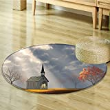 Round Rugs for Bedroom Christian Small Church Trees View Silky Satin Orange White Gray Circle Rugs for Living Room-Round 35''