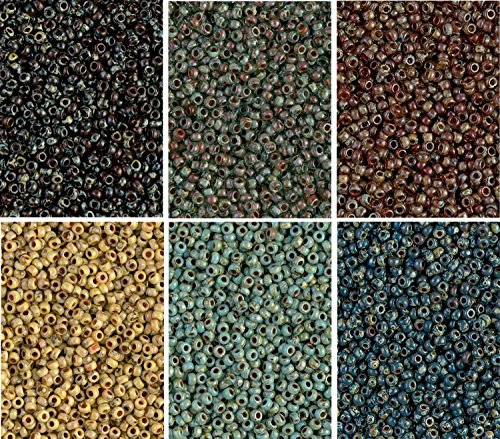 Picasso 6 Color Mix Miyuki Round Rocaille Seed Beads Size 11/0, Each in 2