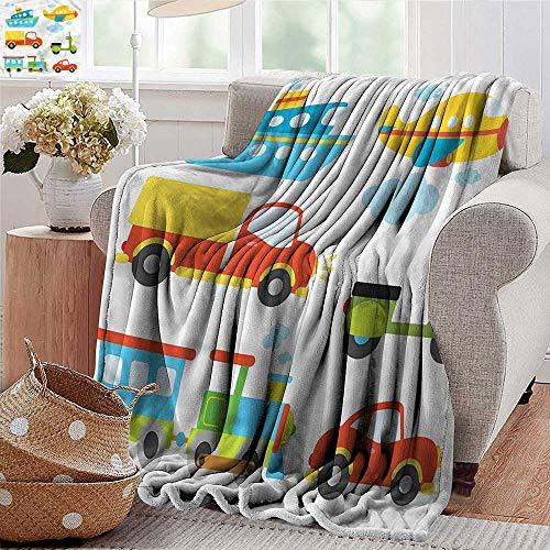 Xaviera Doherty Blankets Fleece Blanket Throw Boys,Transportation Kids Theme Super Soft and Warm,Durable Throw Blanket ()