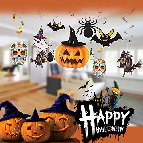 Ghosts & Spiders Swirl Decorations (Halloween Theme Swirl Hanging Decorations Pumpkin Bat Spider Ghost Wizard Skull Pack of 18 For Home Bar Party Ceiling Decoration.)