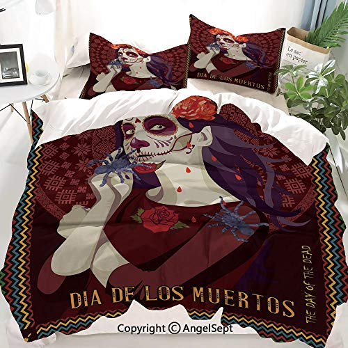 Day of The Dead Decor Decor Duvet Cover Set Full Size,Dia de Los Muertos Woman with Calavera Makeup Spanish Rose Art,Decorative 3 Piece Bedding Set with 1 Pillow Shams -