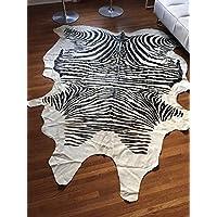 Beige Brazilian Zebra Cowhide Rug Hair on Cow Leather Rug Apx 5X7 - by BlackSwanHides