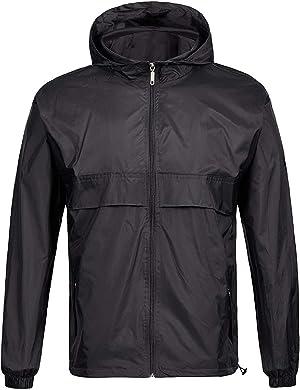 GEEK LIGHTING Men's Waterproof Rain Jacket, Lightweight Packable Hooded Raincoat for Cycling Running Hiking