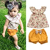 AMA(TM) Toddler Kids Baby Girls Floral Sleeveless T-shirt +Bow Shorts Pants Outfits Clothes Set (2T, Multicolor)