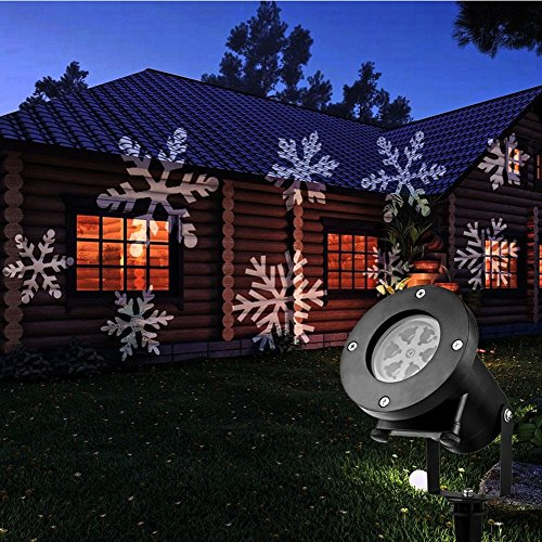 KOOT Christmas Light Projector, Holiday Outdoor Waterproof Landscape Garden Range 40ft Projection Distance with 12 Festive Designs Slides for Holiday Birthday Wedding Dance Party etc