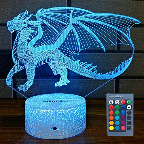 FlyonSea Dragon Gifts Dragon Light 16 Color Changing Dimmable Kids Night Light with Touch and Remote Dragon Toys Light as Birthday Gifts for Boys Kids