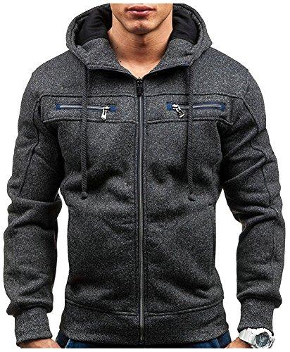Wanture Men's Full-Zip Long Sleeve Pocket Heavy Hooded Sweatshirt Jacket Hoodie Black L