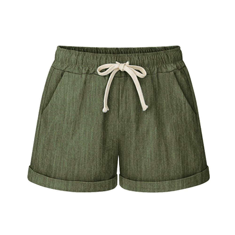 Women's Drawstring Elastic Waist Casual Comfy Cotton Linen Beach Shorts Army Green Tag 6XL-US 18