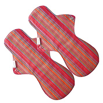 Eco Femme - Vibrant Range - Night Pad - Pack Of 2 - Reusable Sanitary Pads/Cloth Menstrual Pads/Washable Cloth Pads/GOTS Certified Sanitary Napkins at amazon