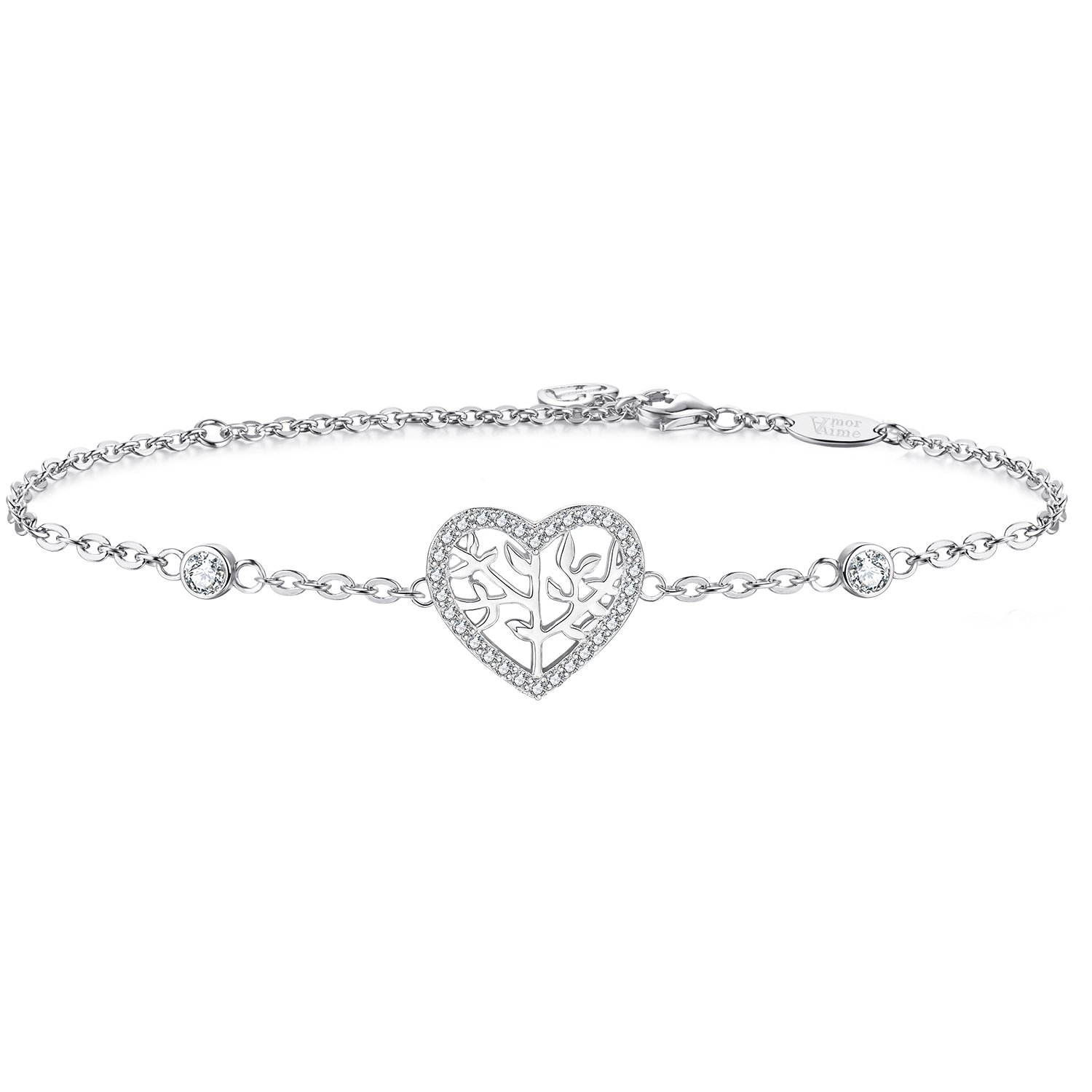 AmorAime 925 Sterling Silver Family Tree of Life Heart Cubic Zirconia Bracelet for Mother Daughter Grandmother