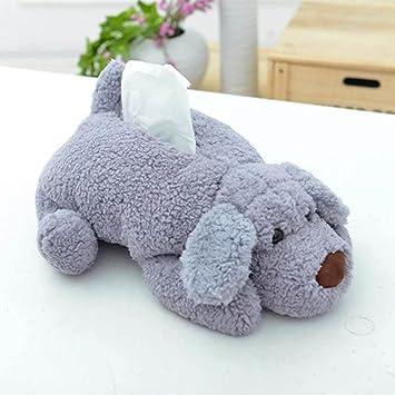 hkfv Creative Cuty diseño Teddy perro suave toalla de felpa caja Tejido decoración para el hogar cajas de papel Decoración del hogar, gris, ...