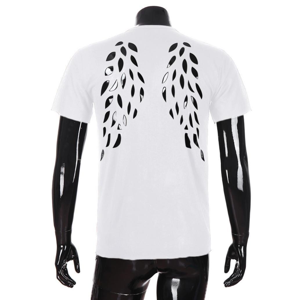 Resplend La Blusa Superior de Manga Corta de la Camisa de Manga Corta del ala de los Hombres de la Personalidad de la Moda: Amazon.es: Ropa y accesorios