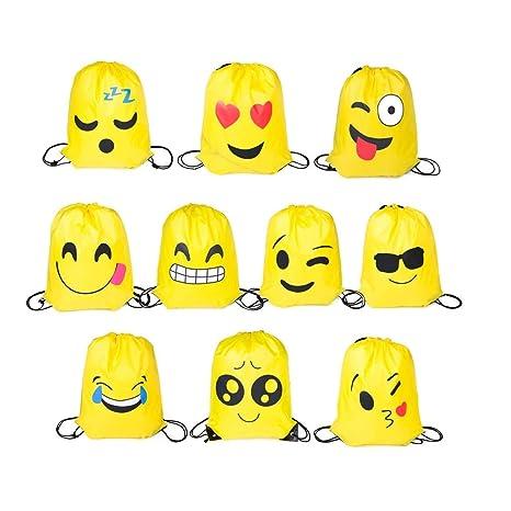 FUNNY HOUSE Emoji Bolsas de Cuerdas,10 Pcs Emoji Mochilas ...