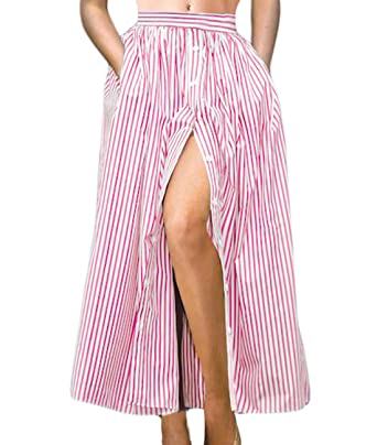 20535ac0cf9 Lalagen Women s Striped Front Slit Ankle Length Button Front High Waist Maxi  Skirt Pink S
