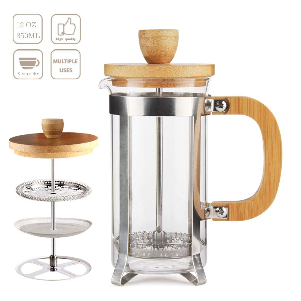 12 oz French Press Coffee Tea Maker by Sivaphe Espresso Press Milk Frother with 18 8 Stainless Steel Filter 350ML High Borosilicate Carafe Durable Bamboo Handle