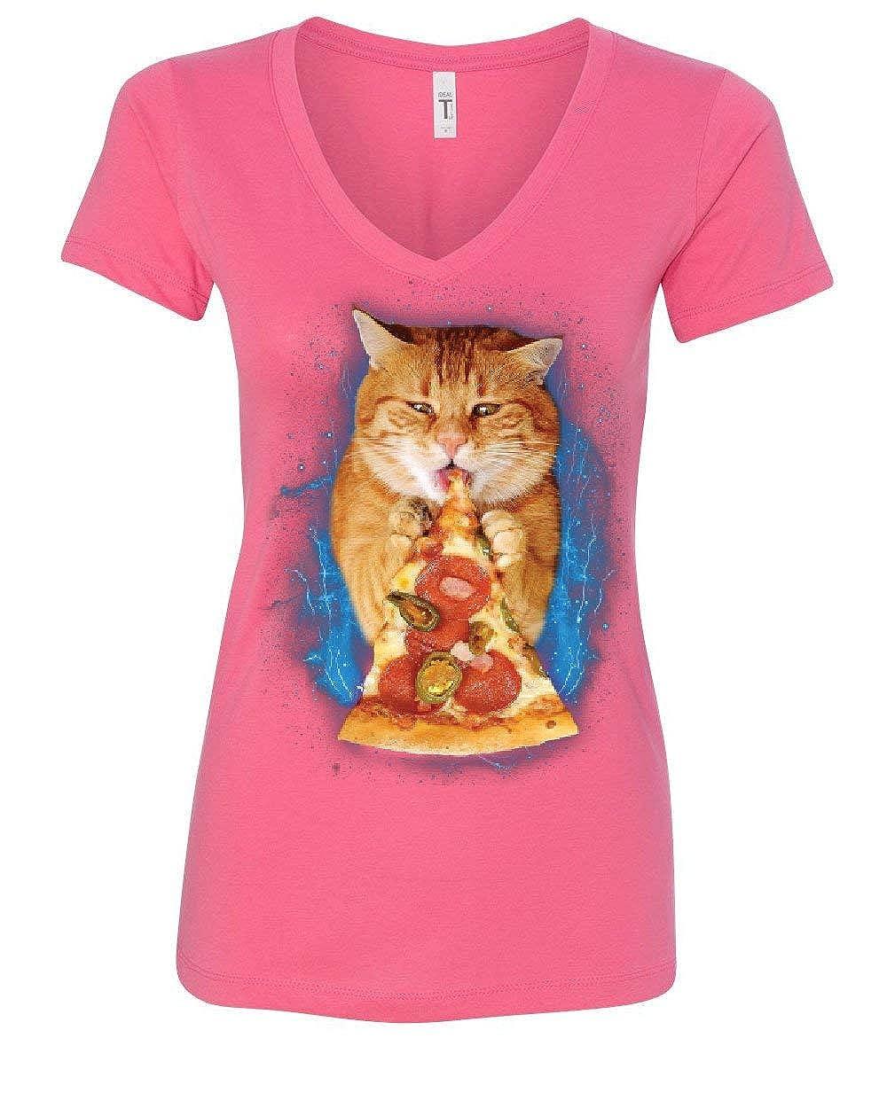 1408eb43f8 Amazon.com: Cat Eating Pizza Women's V-Neck T-Shirt Funny Weird Kitten Pet  Kitty Peperoni: Clothing