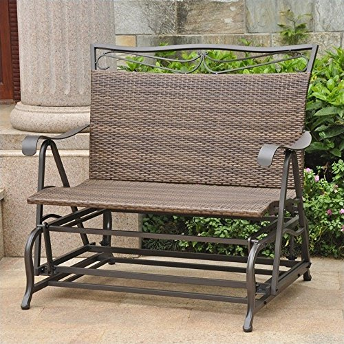 Pemberly Row Patio Glider Loveseat in Antique Brown