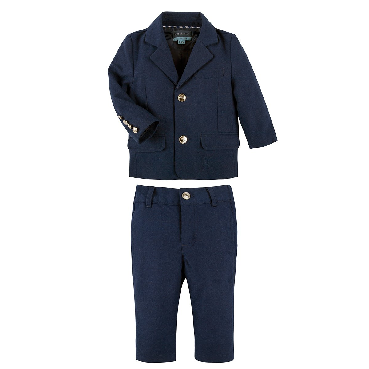 Andy & Evan New Baby Boys Navy Classic Herringbone 2 Piece Suit Set For Kids - Long Sleeves Fashion Dress For Toddler, 2T