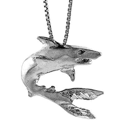 Amazon sterling silver shark pendant 1 inch tall shark sterling silver shark pendant 1 inch tall aloadofball Gallery