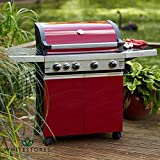 Leisuregrow Classic 4 Burner Roaster BBQ with Cabinet Red