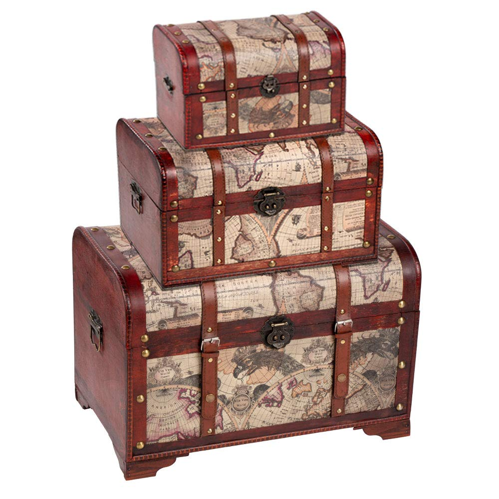 Juvale Wooden Chest Trunk, 3-Piece Storage Trunk and Chests | Map Pattern - Antique Victorian Style - Pirate Treasure Chest in 3 Different Sizes by Juvale