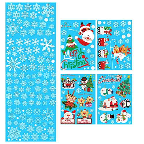 Topivot Christmas Decorations,180Pcs White Snowflakes and Santa Claus, Snowman & Many More Window Clings Decal Stickers (8 Sheets) ()