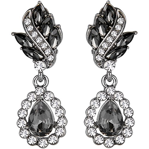 (EleQueen Women's Austrian Crystal Art Deco Tear Drop Dangle Earrings Clip-on Black-tone Black&Clear)