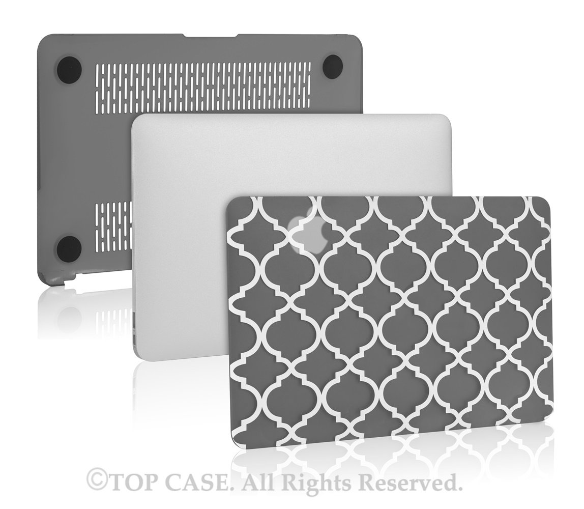 TopCase Quatrefoil/Moroccan Trellis Gray Ultra Slim Light Weight Rubberized Hard Case Cover for MacBook Air 11'' Model: A1370 and A1465 by TOP CASE (Image #4)