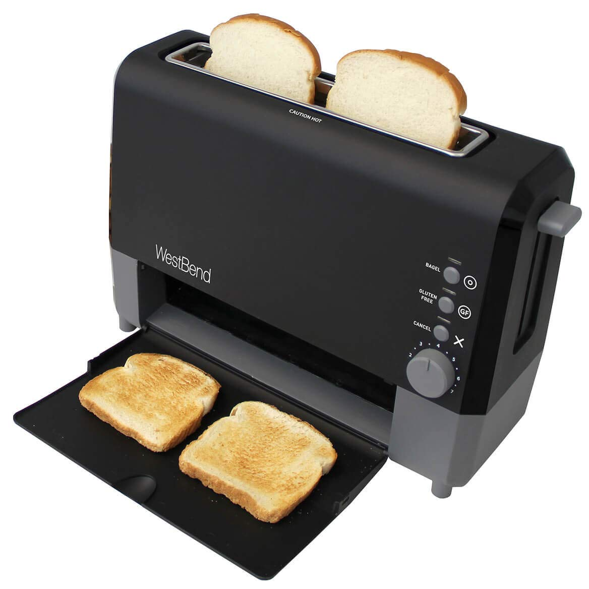 West Bend 77224 Quik Serve Slide Through Wide Slot Toaster with Cool Touch Exterior and Removable Crumb Tray, 2-Slice, Black by West Bend